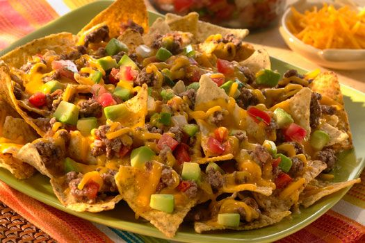 Cheese and beef nachos