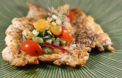 Chicken Paillards with Clementine Salsa - chicken breast halves