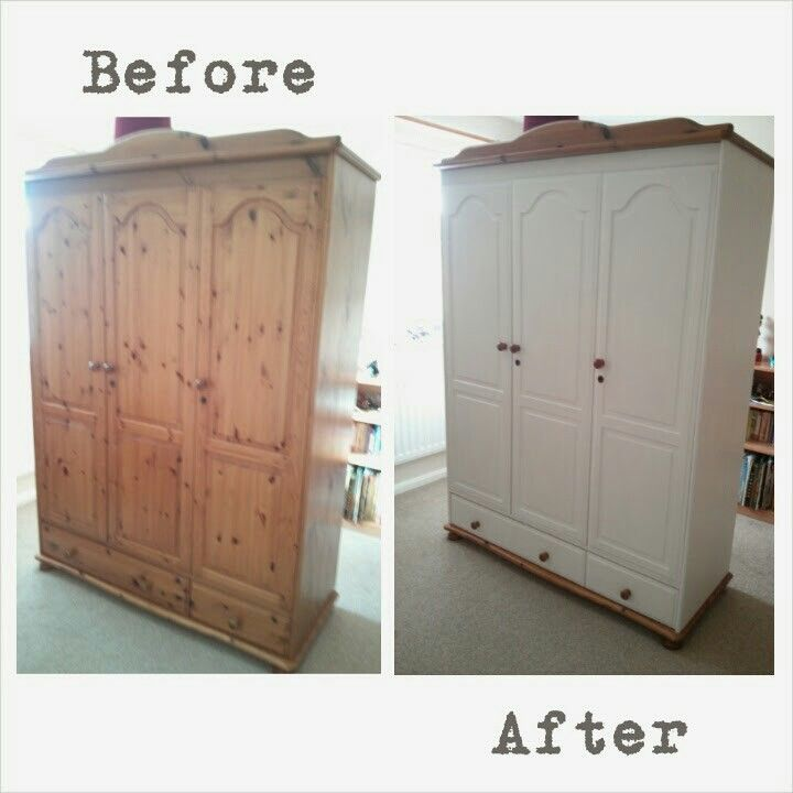 80 39 S Pine Wardrobe Gets A Makeover Painted With Annie Sloan Chalk Paint In Old White And