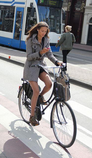 Girl on street bike