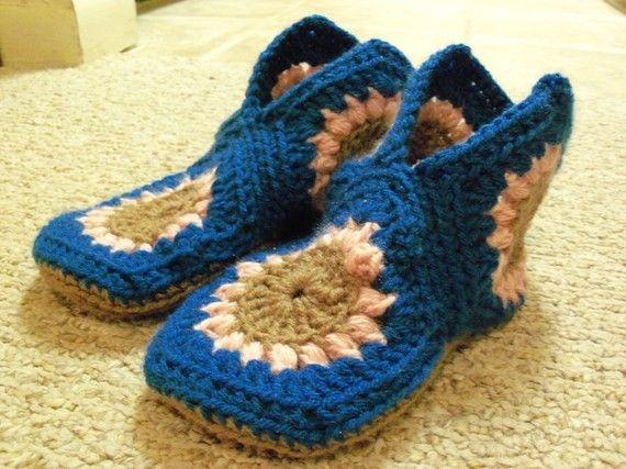 Crochet Granny Square Slipper Pattern : Granny Square Slippers Crochet Pinterest
