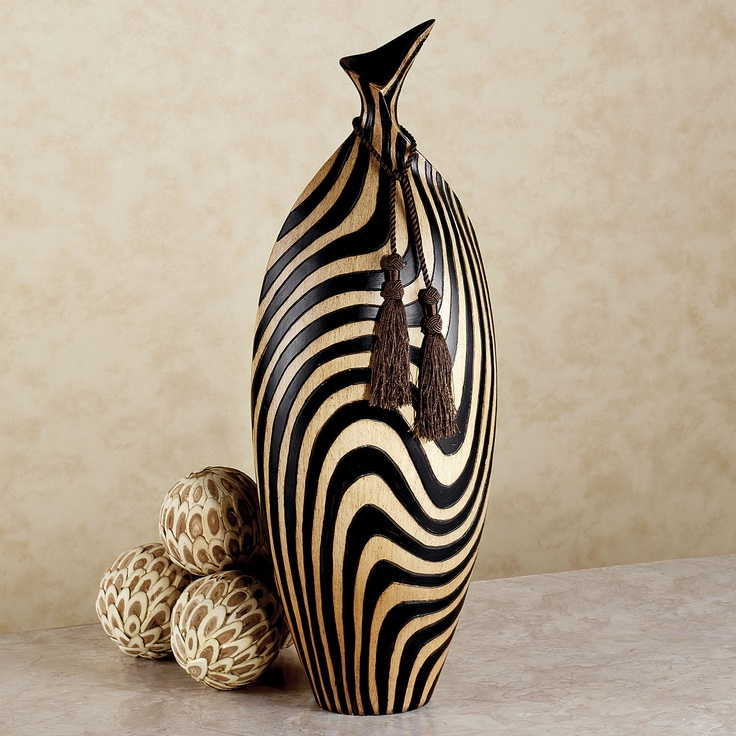 Zebra stripe table vase go wild decorating with for Decoration zebre