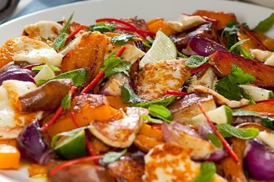 Halloumi with butternut squash, sweet potatoes and chilli   Cakery and ...