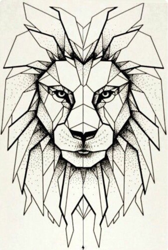 Geometric lion head tattoo