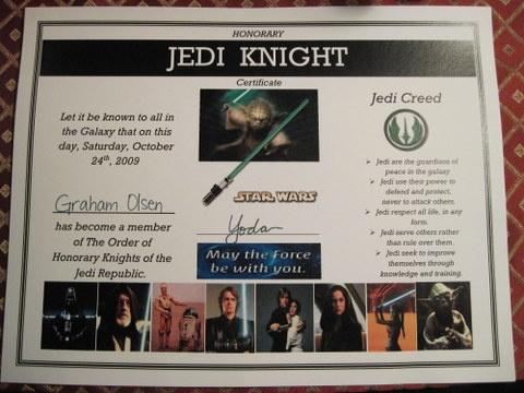 Jedi knight certificate party ideas son pinterest for Jedi knight certificate