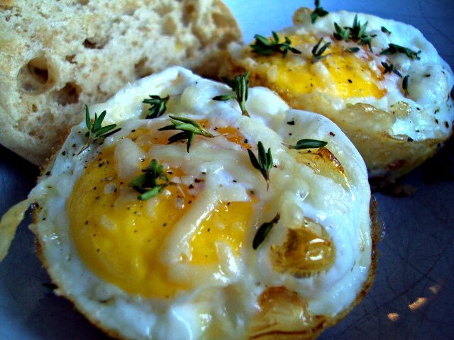 BAKE EGGS IN MUFFIN TINS to cook many at one time. Coat with cooking ...
