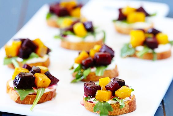gimme some oven | roasted beet, arugula, goat cheese & honey crostini ...