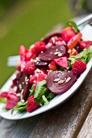 Beet, Apple and Orange Salad in a Homemade Raspberry Vinaigrette