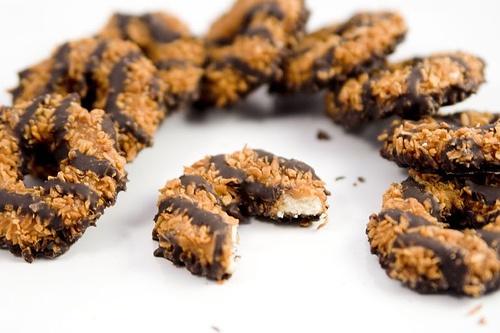 homemade samoas using keebler fudge stripes cookies as the base