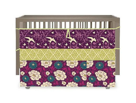 Purple green and teal crib baby bedding the bramble collection on
