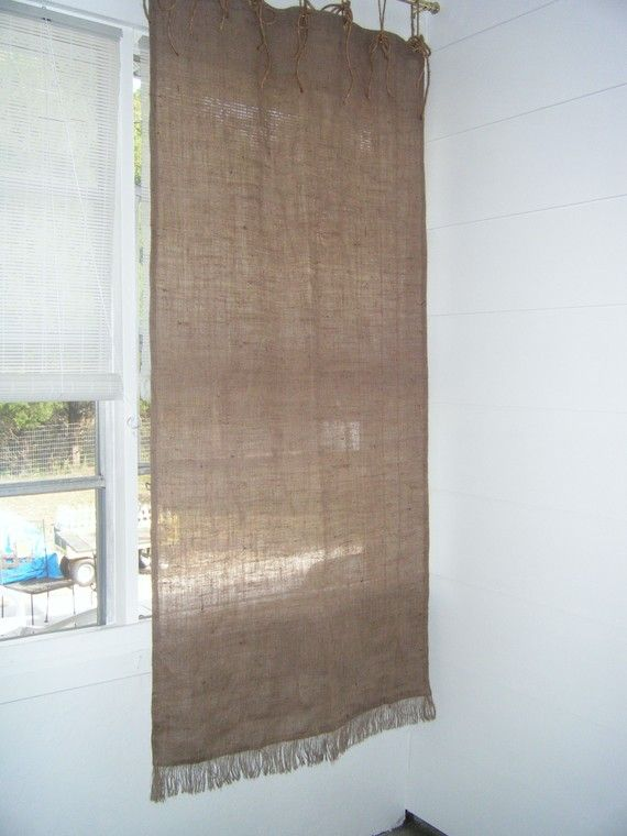 Burlap Window Curtain with Grommet Top & Fringed by BurlapCountry, $59 ...