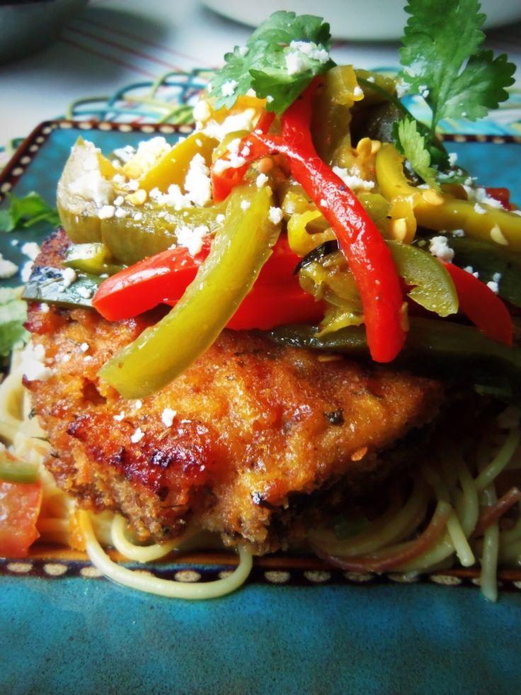 Crispy Baked Pork Chops with Pepper Medley - Hispanic Kitchen | yummy ...