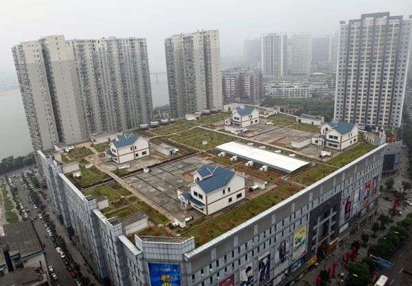 Space is one thing you don't find easily in a city like Zhuzhou, Hunan province, China. But there is space on the rooftop of the Jiutian International Square shapping mall, and the owners have places four villas with lawns up there. The developers say these are not intended for sale, but they are not the only rooftop houses in the city -and other buildings have people living in such structures. Link -via Geekosystem