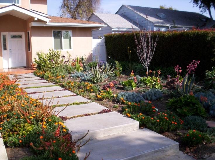 Front Yard Low Water Landscape Garden Ideas Pinterest