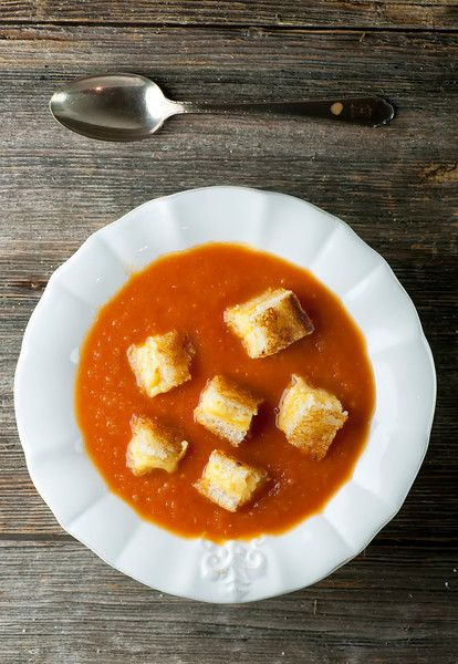 Tomato Soup with Grilled Cheese Croutons - Framed Cooks