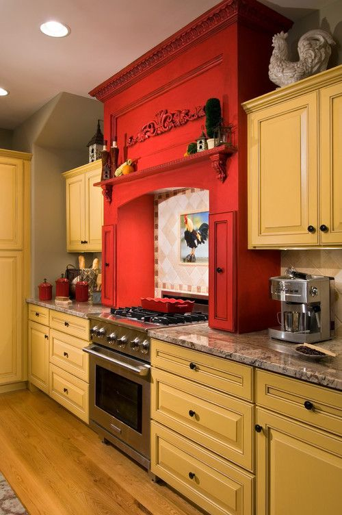 Fun yellow and red country kitchen Granite countertops Travertine