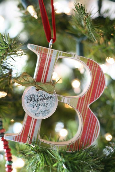 Christmas Ornament (uses a craft store wooden letter, ModgePodge, Christmas scrapbooking paper, an eye hook and ribbon)