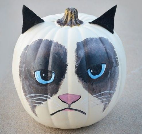 Grumpy Cat Halloween pumpkin! Probably our kids' favorite.