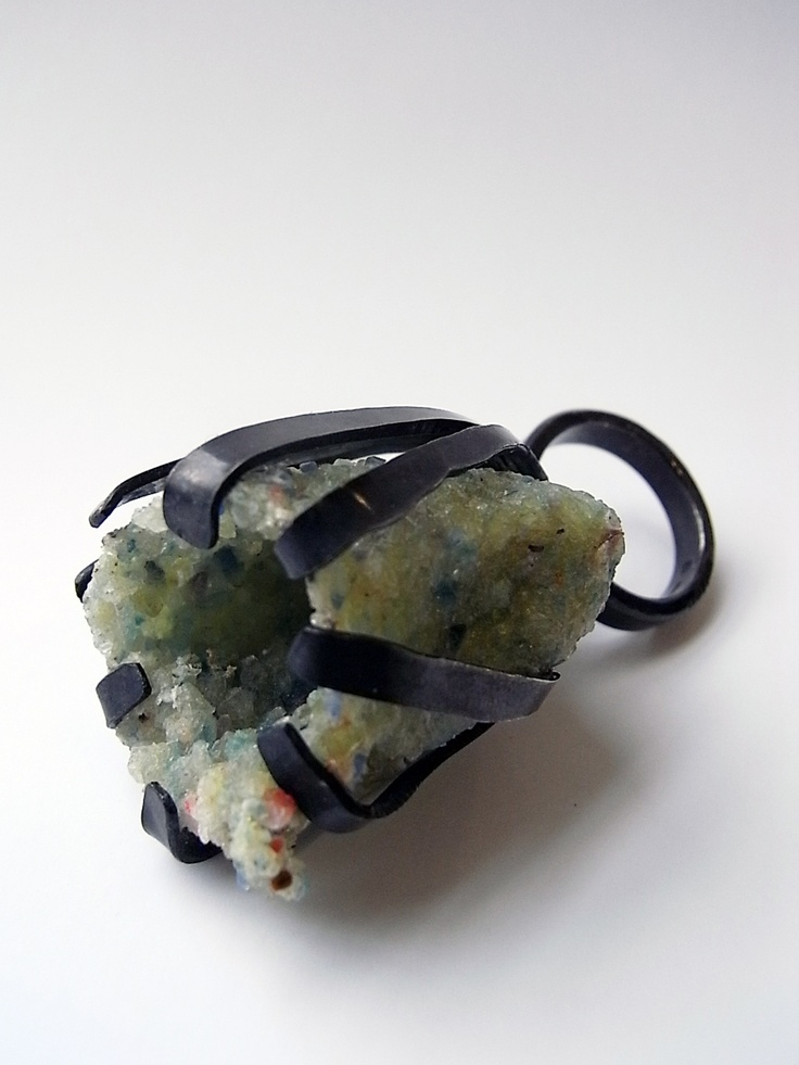 Kelvin J Birk - big claw ring in oxidized silver with crushed stone cluster