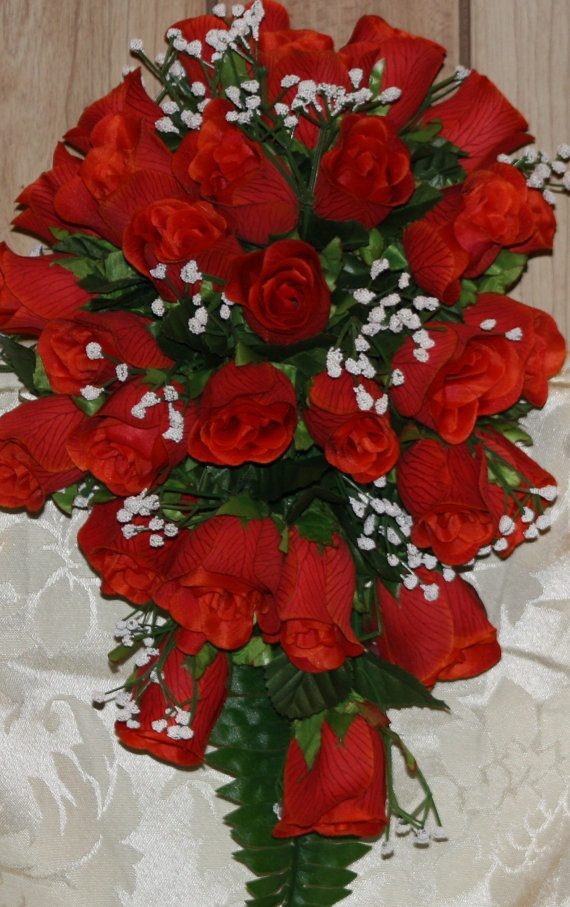 Red Rose Cascading Bridal Bouquet 12 Piece By SilkFlowersByJean 9900