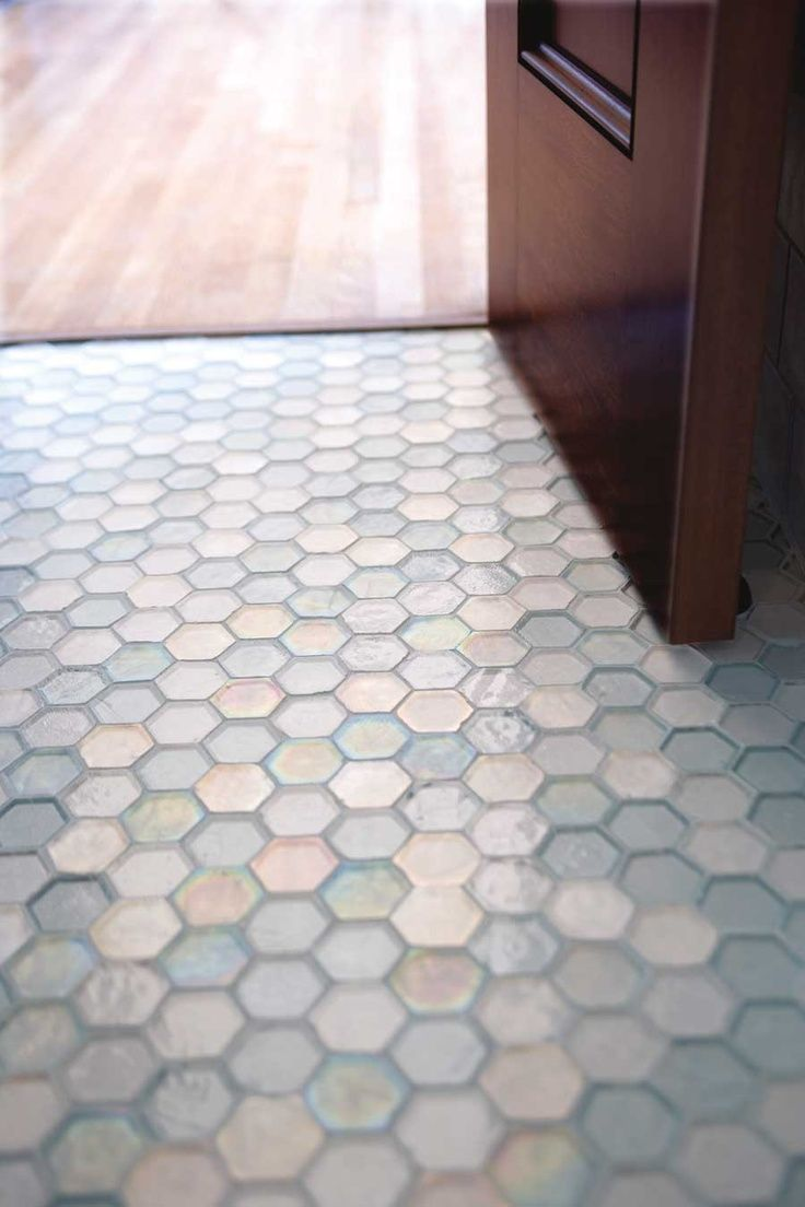 Bathroom Glass Hexagon Floor Glass Tile Pinterest