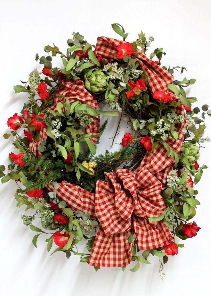 Front door wreath spring wreath bird nest summer wreath country w