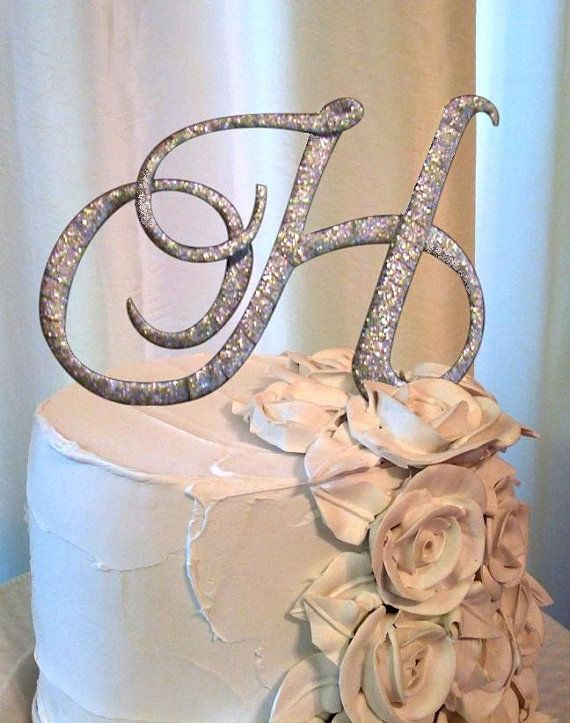 Letter H Wedding Cake Topper in Silver, Style 6