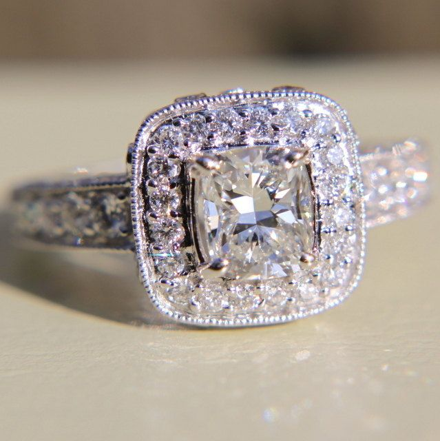 2 carats total Round and Cushion Cut Diamond Engagement Ring 14K whi…