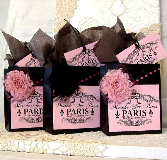French Paris Apartment Style Paper Gift Bag Set with Paris Flea Market Label, Fabric Flowers, & Matching Tags