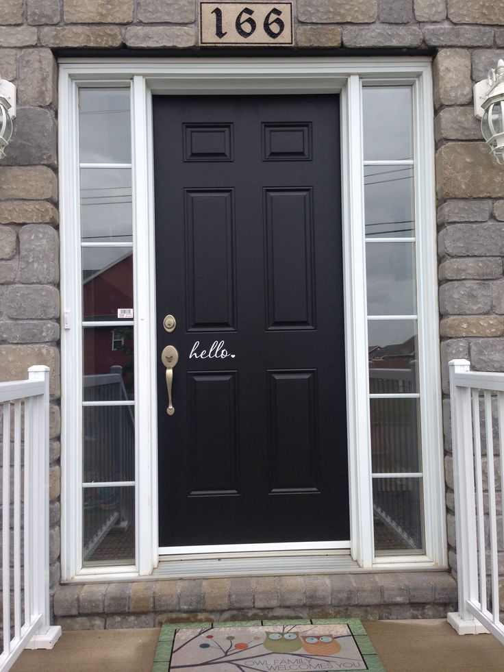 Black Front Door With White Trim For The Home Pinterest