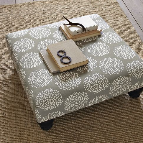 Fabric Ottoman - love the neutral print