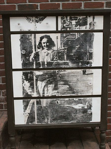 decorate a dresser with an old photo - gorgeous! By From Generation to Generation