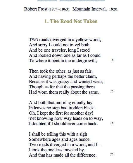 critical essay on robert frost the road not taken