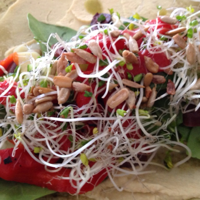 ... olives, spinach, sprouts, toasted sunflower seeds, roasted red pepper