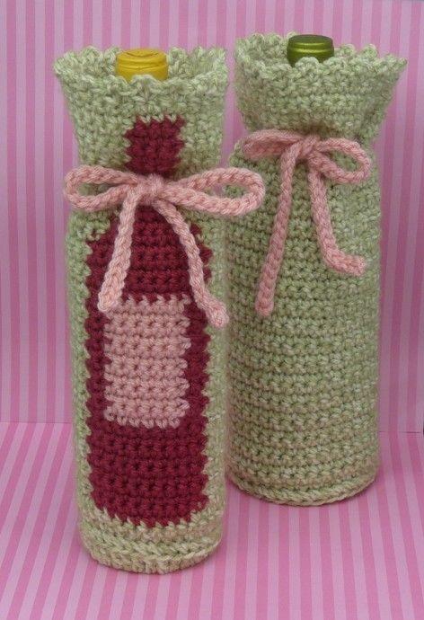 Free Crochet Pattern For Wine Bag : Pin by Pam Merkin on crochet wine bottle covers Pinterest