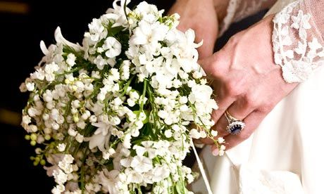 Kate Middleton's wedding bouquet designed by Shane Connolly. Flowers represent: Lily-of-the-valley -– Return of happiness, Sweet William –- Gallantry, Hyacinth –- Constancy of love,  Ivy — Fidelity; marriage; wedded love; friendship; affection  Myrtle – the emblem of marriage; love.