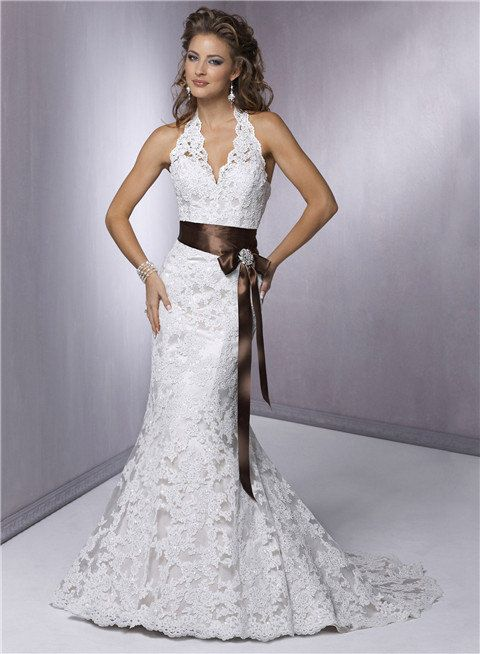 Halter top wedding dress lace v neck wedding gown e13 for Wedding dress halter top