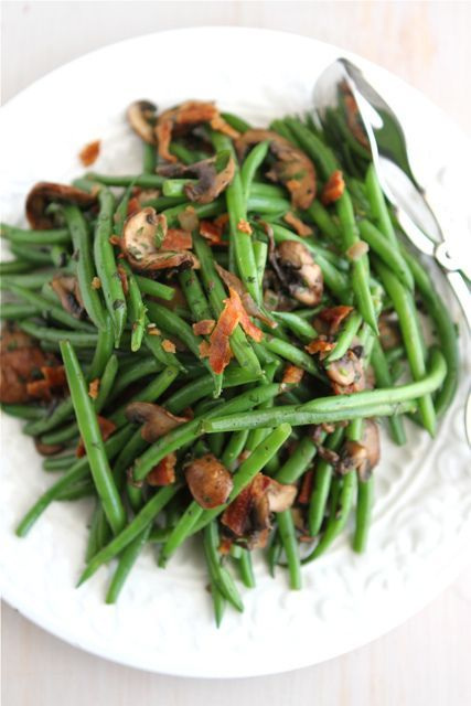 thanksgiving fresh green beans with bacon mushrooms amp herbs recipe ...