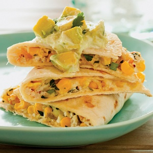 Fresh Corn and Crab Quesadillas with Avocado Crema