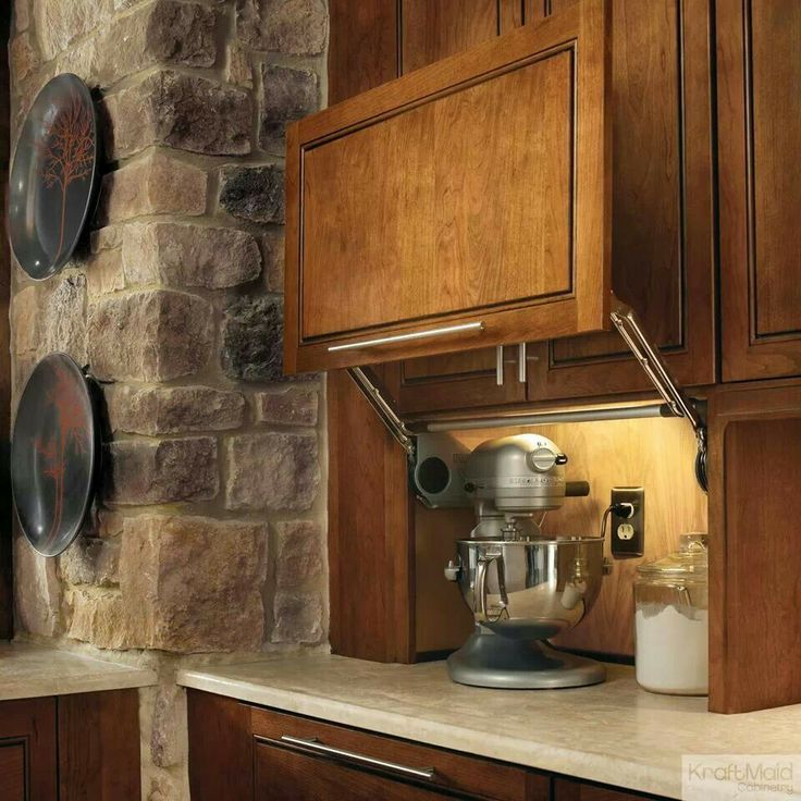 Kraftmaid appliance garage home pinterest for Appliance garage kitchen cabinets