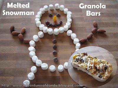 melted snowman granola bars   Winter Ideas   Pinterest