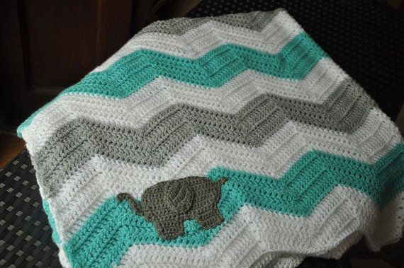 Crochet Elephant Blanket : Crochet 48x48 Chevron Blanket with Elephant https://www.facebook....