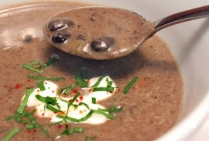Spicy Black Bean Soup with Lime and Cilantro- Curtis Stone developed this recipe for The Biggest Loser. It is so GOOD! And healthy. Serve with a condiment bar on the side so everyone can add their favorites...even lime grilled chicken and shrimp!