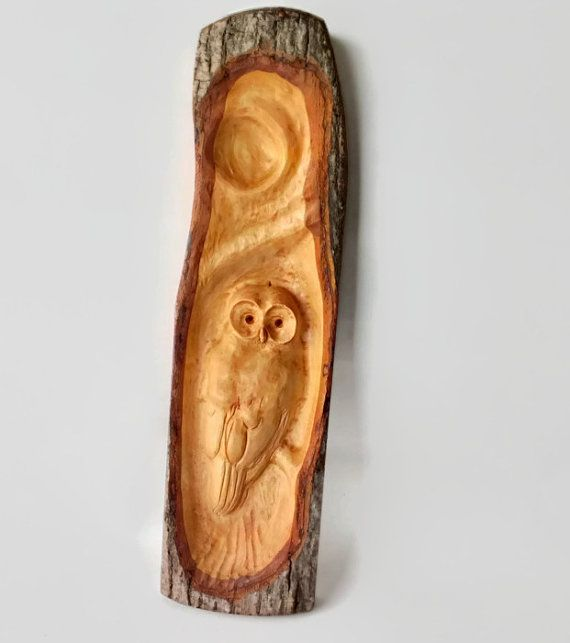 Owl relief wood carving wall plaque rustic decor hand