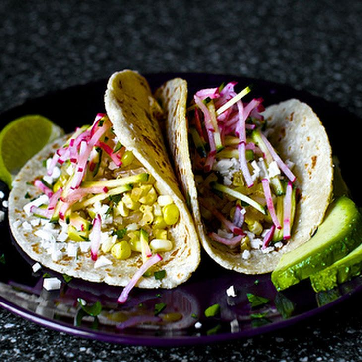 Charred Corn Tacos with Zucchini-Radish Slaw Recipe