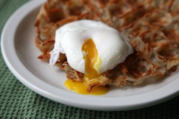 hashbrown waffles (!) with poached egg