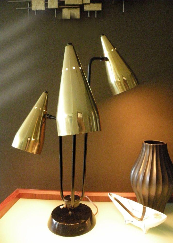 Rare mid century triple cone lamp vtg atomic 50 39 s eames era for Eames lampe