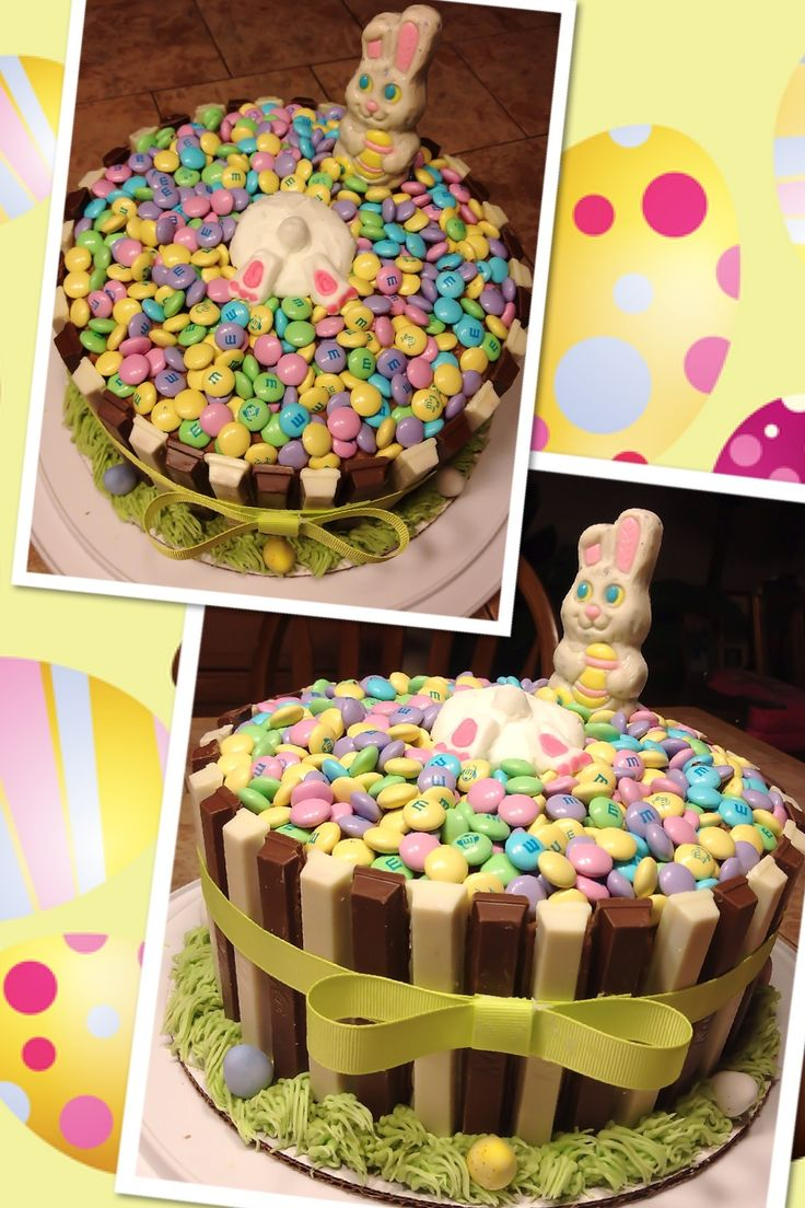 basket cake with alternating chocolate & white chocolate kitkat bars ...