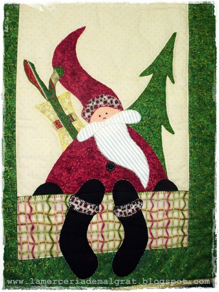 Detalle centro de mesa papa noel patchwork labores de - Centro de mesa para navidad ...