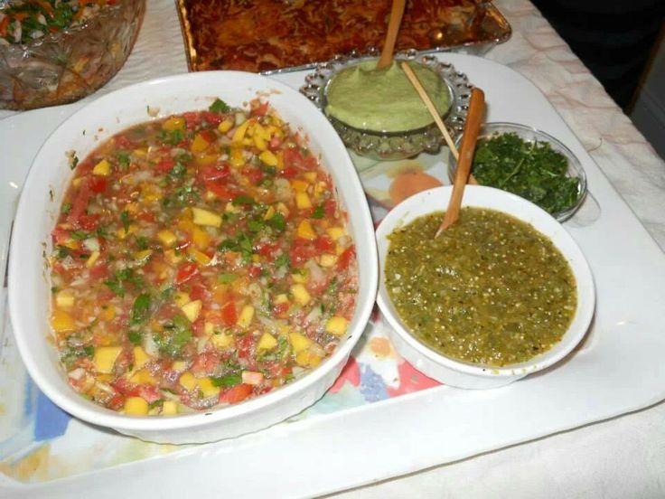 Guacamole, Tomatillo Sauce, Fresh cilantro and pico de gallo with ...